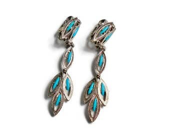 Vintage Clip On Dangle Earrings, Silver Loops Faux Turquoise Stones, Long Southwestern Style Dangle Earrings