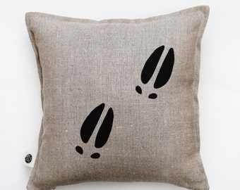 Farmhouse pillow - throw pillows with black moose tracks hand painted on it. Custom size for this decorative pillow 0415