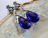 Dark Blue Earrings, Teardrop Earrings, Blue & Silver Earrings, Cobalt Blue Jewelry Stud Dangle Earrings, Girlfriend Gift, Glass Bead Jewelry