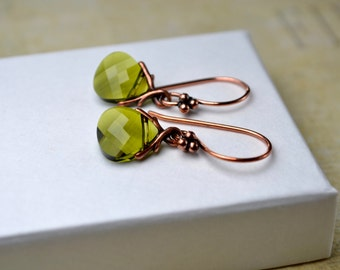 Green Crystal Earrings, Olive Green Earrings, Swarovski Jewelry, Dangle Earrings, Crystal Drop Earrings, Green Gifts, Wife, Gift For Women