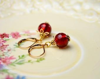 Red Bead Earrings, Red Drop Earrings Dangle Earrings, Gold Leverback Earrings, Glass Bead Jewelry, Cherry Earrings, Best Selling Items, Gift