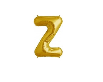 """Letter Z - Gold 16"""" Mylar Letter Balloon, Wedding, Bridal Shower, 1st Birthday, Photo Prop, Name Banner, Baby Shower, Baby Name, Party"""