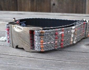 The Presidio Dog Collar - Colorful Wool - Gray Plaid Dog Collar with Metal Hardware