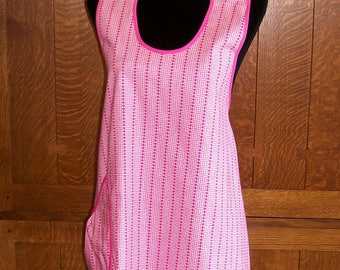 Pink Retro Kitchen Apron - Lucy and June Pink Calico Full Apron - Tie One On Apron - Size Small