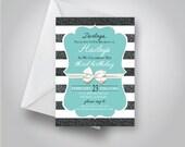 Breakfast at Tiffany's Birthday Invitation, Tiffany and Co. birthday theme, Baby Shower or Bridal Shower with bow invitation, 5x7