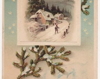 Christmas Village - Pine Branch - Stars - Original Antique Postcard