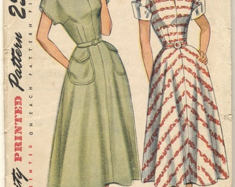 Vintage 1948 Simplicity Pattern 2394 Pretty Day Dress Bust 34