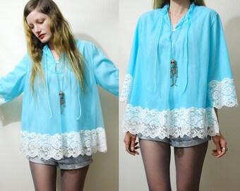 60s Vintage BABYDOLL Lingerie Top SHEER Layered Chiffon Aqua Blue Lace Long Bell Sleeve Nightie Blouse Nylon Night Gown Boho Retro 1960s vtg
