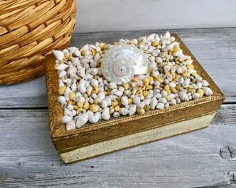 Italian Florentine Seashell Box/Vintage Seashell Box/Vanity Decorative Jewelry Box/Coastal Chic Florentine Box