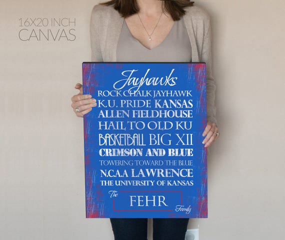 Jayhawks Print or Canvas. Kansas Jayhawk. Personalized Jayhawk. Jayhawks. KU jayhawk. gift for husband. rock chalk jayhawk. basement decor.
