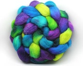 Aurora Borealis - BFL roving top - saturated bright colors - spinning wool braid - 4 oz - Spinning Mermaid