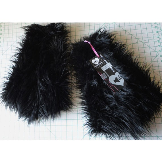 Black fluffies - MADE TO ORDER // black leggings // furry boots // black boots // rave fluffies // extra long faux fur