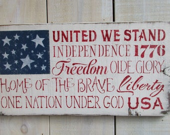 Hand Painted Wood Sign, American Flag - Patriotic Quotes, Americana Sign, US Flag, Patriotic Decor