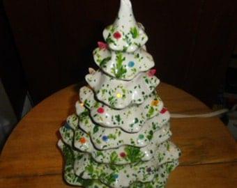 Vintage Christmas Ornament - Lighted Ceramic Tree, White/Green Ceramic Christmas Tree, White/Green Ceramic Base, Christmas Lighting