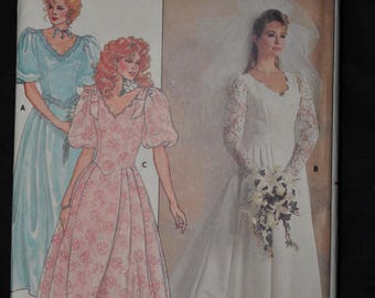1980's Beautiful Bridal & Bridesmaid Gown - Size 8 - UNCUT - Butterick 3615