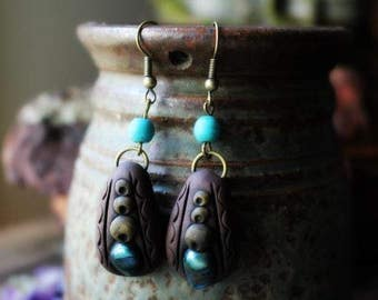 Wild Woman Earrings. Clay & Gemstone. Organic Earthy Bohemian Style... Clay with Healing Gemstone and Crystal Jewelry.