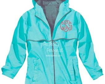 Charles River New Englander Monogrammed Rain Jacket Waterproof More Colors XS-3X Gray Mesh Lined Coat ~ Full Zip ~ Hooded