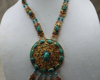 Massive Egyptian Revival 24 scarabs Turquoise glazed clay beetles brass medallion pendant necklace statement