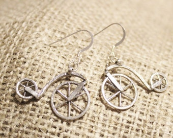 Sterling Silver Bicycle Dangle Earrings, Unique Earrings, Jewelry Under 35, Gifts For Her