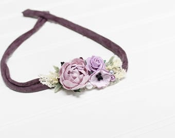 Lovely Lavender - beautiful dainty and simple flower headband in lavender, plum purple, dusty purple, cream, a touch of grey and ivory (RTS)