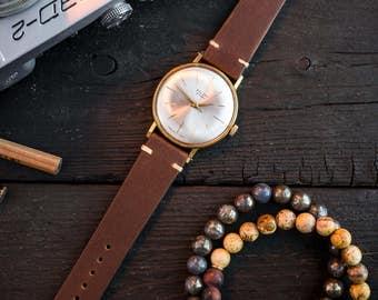 Mens watch, Vintage Poljot mens watch, poljot dress watch, gold plated russian watch, retro wrist watch, ussr soviet mechanical watch