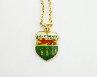 Saskatchewan Charm Necklace - Vintage Saskatchewan Charm - Canada 150