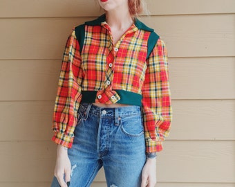 60's Vintage Cropped Hippie Plaid Flannel Top // Women's size XS Small S