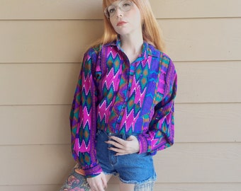 Retro WRANGLER Vintage Aztec Southwest Tribal Western Shirt // Women's size Medium M