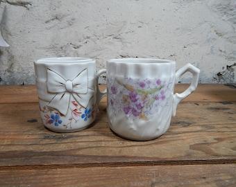 Vintage Tea Coffee Moustache Mug Tea Bag Holder Antique Porcelain Mug Moustache Mug.