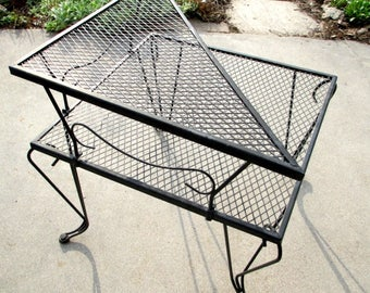 Mid Century Black Metal Mesh Outdoor Table   Two Tier