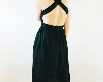 Black Linen Dress - Apron - Black Linen Apron - Black Linen Dress - Apron Dress - Handmade by OFFON