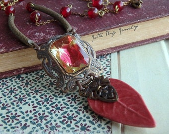 Mirabilia- artisan ceramic rust red leaf. vintage faceted pendant. maroon. romantic assemblage jewelry. Jettabugjewelry