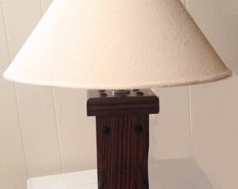 Alabama Table Lamp, electric wood lamp, farmhouse style lighting, vintage electrical Light, table lamp with shade, made in USA