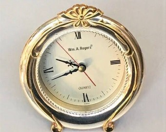 Vintage Desk Clock, silver plated Wm A Rogers clock, regency style home decor, quartz table clock, battery run