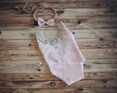 RTS Rose Gold Newborn Romper blush girl bodysuit SET lace romper newborn tieback Newborn girl Photo Prop bodysuit blush romper pink prop