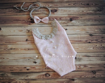 Rose Gold Newborn Romper blush girl bodysuit SET lace romper newborn tieback Newborn girl Prop bodysuit blush romper pink prop Made to Order