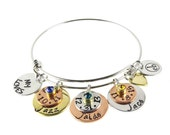Hand Stamped Jewelry - Mother's Birthstone Family Engraved Children's Names Bracelet - Expressions Bracelets Made in the USA