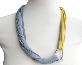 Grey Yellow Leather Jewelry Necklace,  String Statement Leather Bib, Suede Necklace