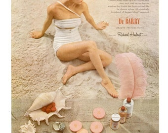 1946 Du Barry Beauty Richard Hudnut & GE Radios Ads Vintage Beauty Nautical Coastal Beach Pink Plume Feather Bathroom Powder Room Wall Decor
