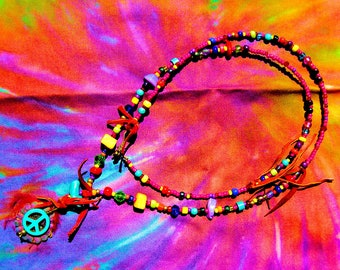 Wear Your Love Like Heaven Colorful Psychedelic Flower Power Hippie Music Festival Peace Sign Love Beads Necklace
