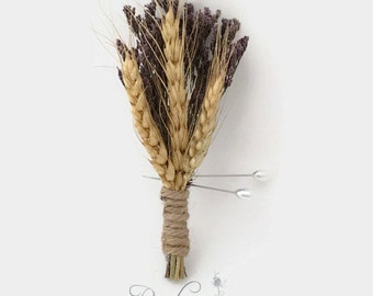 Wheat & Statice Boutonniere, Dried Wheat and Statice Boutonniere, Wheat Wedding, Dried Wheat, Rustic Wedding, Twine, Sea Lavender