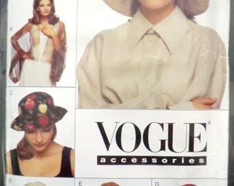 Vintage hat pattern, 1990s Vogue number 920 , one size, brimmed hat, turban,bolero shawl
