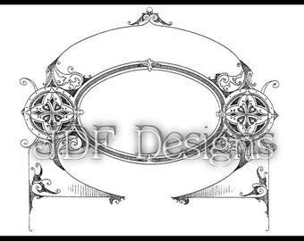 Instant Digital Download, Victorian Era Graphic, Ornate Eastlake Banner Text Box, Scroll, Printable Image, Scrapbook, Steampunk, Label