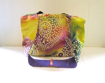 Batik Cross Body Sling Bag Purple Lining with Pockets Over the Shoulder Cloth Bag Boho Hippie Bag Fabric Tote Slouch Style Bali Hippy Bag