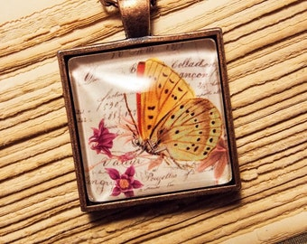 Glass Tile Necklace- Vintage Style Butterfly