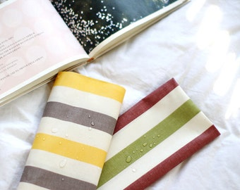 Big Stripe Laminated Cotton Fabric, Yellow or Green - By the Yard 75324