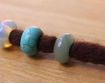 3 Dreadlock Beads Gemstone Opalite Aventurine Ceramic 5mm Hole (3/16' - 7/32')