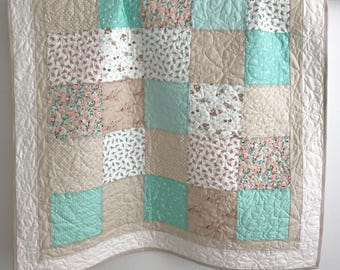 Patchwork Baby Girl Quilt Lullaby Collection By Moda Shades of Aqua Peach Tan White