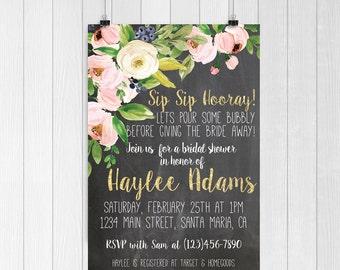 Bridal shower invitation | Bridal shower invite | Sip sip hooray | floral bridal shower invitation | Floral invitation |