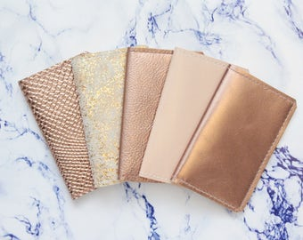 Natural leather double credit card case-business card holder-cash holder- metallic leather wallet-rose gold beige copper- Ready to Ship